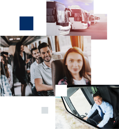 A collage of images, including a lineup of charter buses, happy passengers on a motorcoach, and a professional driver smiling while looking into a rearview mirror