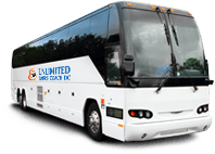 A branded, all-white charter bus with the Unlimited Tours Coach DC logo on it