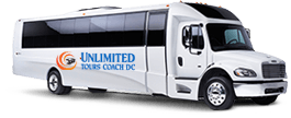 A branded, all-white minibus with the Unlimited Tours Coach DC logo on it