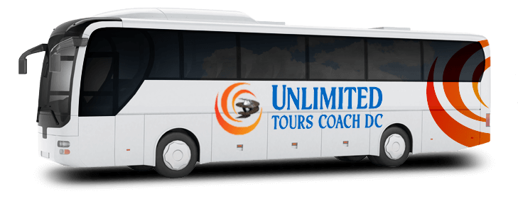 A branded Unlimited Tours Coach DC charter bus